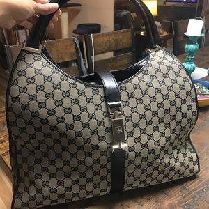 Authentic Gucci Bardot textile mon. shoulder bag